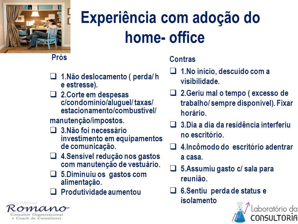 Experiência com adoção do home- office Prós  1.Não deslocamento ( perda/ h e estresse).