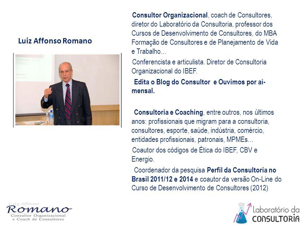 Luiz Affonso Romano Consultor Organizacional, coach de Consultores, diretor do Laboratório da Consultoria, professor dos Cursos de Desenvolvimento de Consultores, do MBA Formação de Consultores e de Planejamento de Vida e Trabalho...