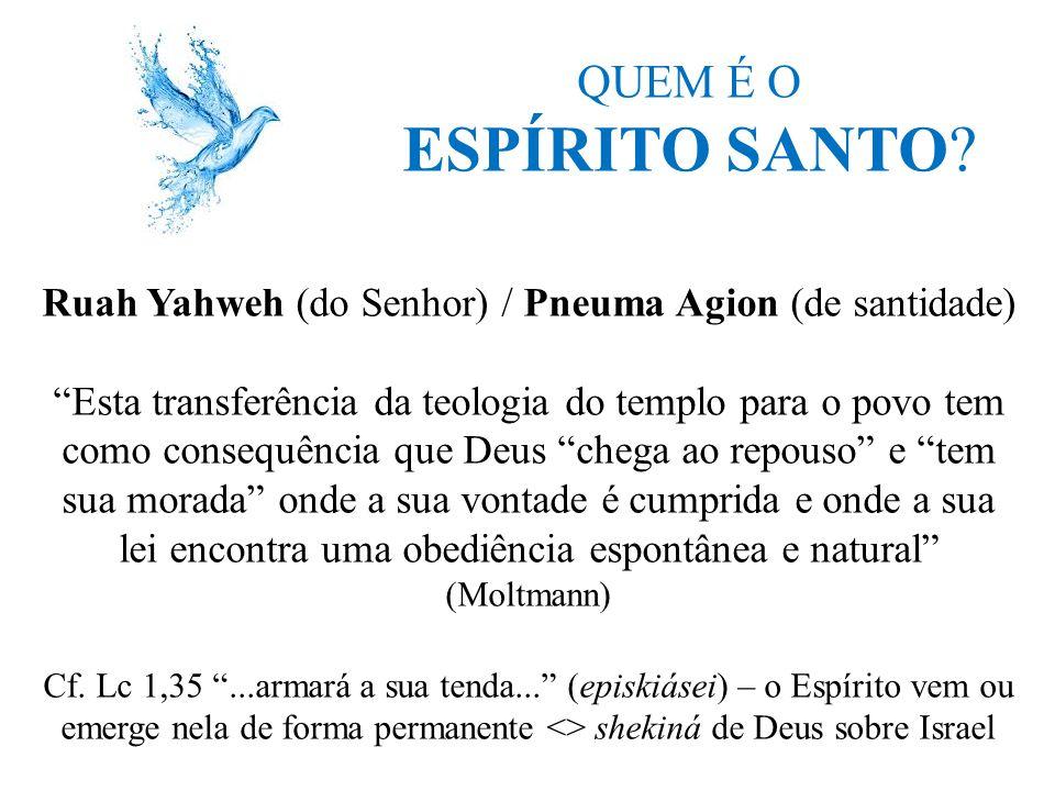 """QUEM É O ESPÍRITO SANTO? Ruah Yahweh (do Senhor) / Pneuma Agion (de santidade) """"Esta transferência da teologia do templo para o povo tem como consequê"""