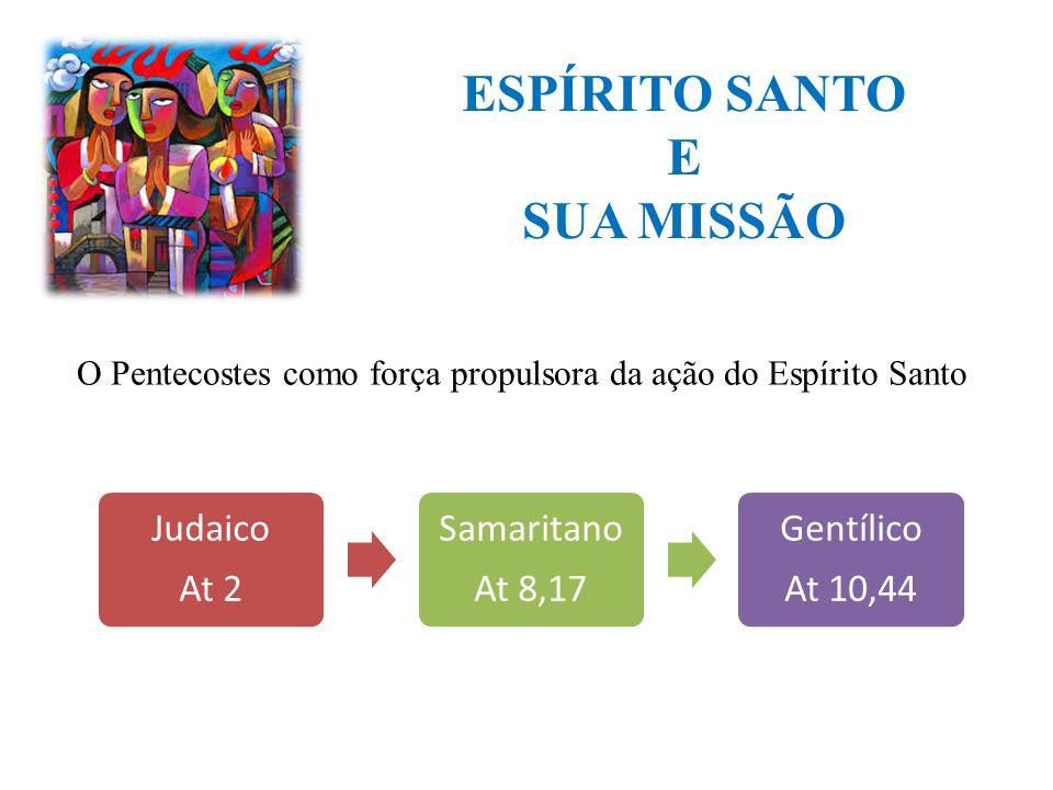 ESPÍRITO SANTO E SUA MISSÃO Judaico At 2 Samaritano At 8,17 Gentílico At 10,44 O Pentecostes como força propulsora da ação do Espírito Santo