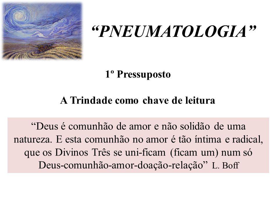 """""""PNEUMATOLOGIA"""" """"Deus é comunhão de amor e não solidão de uma natureza. E esta comunhão no amor é tão íntima e radical, que os Divinos Três se uni-fic"""