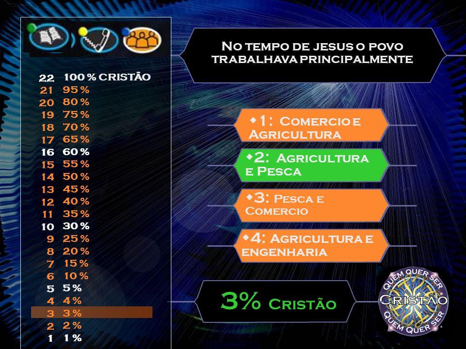 No tempo de jesus o povo trabalhava principalmente  3: Pesca e Comercio  1: Comercio e Agricultura 3% Cristão  4: Agricultura e engenharia  2: Agricultura e Pesca 22 21 20 19 18 17 16 15 14 13 12 11 10 9 8 7 6 5 4 3 2 1 100 % CRISTÃO 95 % 80 % 75 % 70 % 65 % 60 % 55 % 50 % 45 % 40 % 35 % 30 % 25 % 20 % 15 % 10 % 5 % 4 % 3 % 2 % 1 %