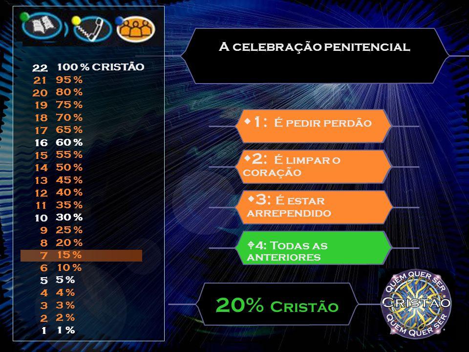 A celebração penitencial  1: É pedir perdão 20% Cristão  4: Todas as anteriores  2: É limpar o coração  3: É estar arrependido 22 21 20 19 18 17 16 15 14 13 12 11 10 9 8 7 6 5 4 3 2 1 100 % CRISTÃO 95 % 80 % 75 % 70 % 65 % 60 % 55 % 50 % 45 % 40 % 35 % 30 % 25 % 20 % 15 % 10 % 5 % 4 % 3 % 2 % 1 %