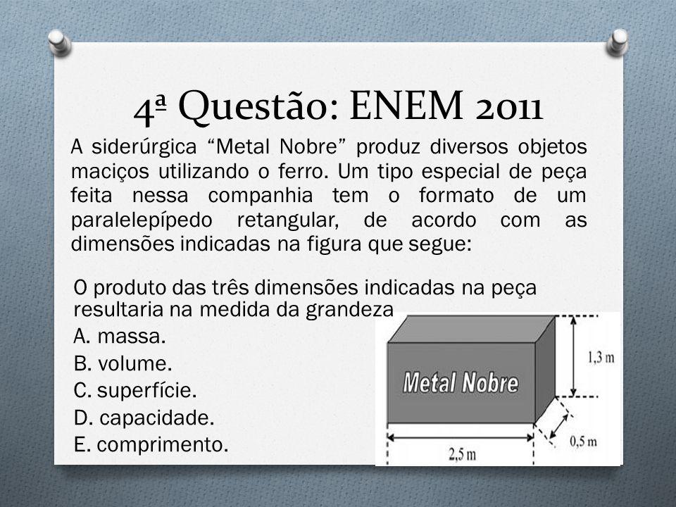 """4ª Questão: ENEM 2011 A siderúrgica """"Metal Nobre"""" produz diversos objetos maciços utilizando o ferro. Um tipo especial de peça feita nessa companhia t"""