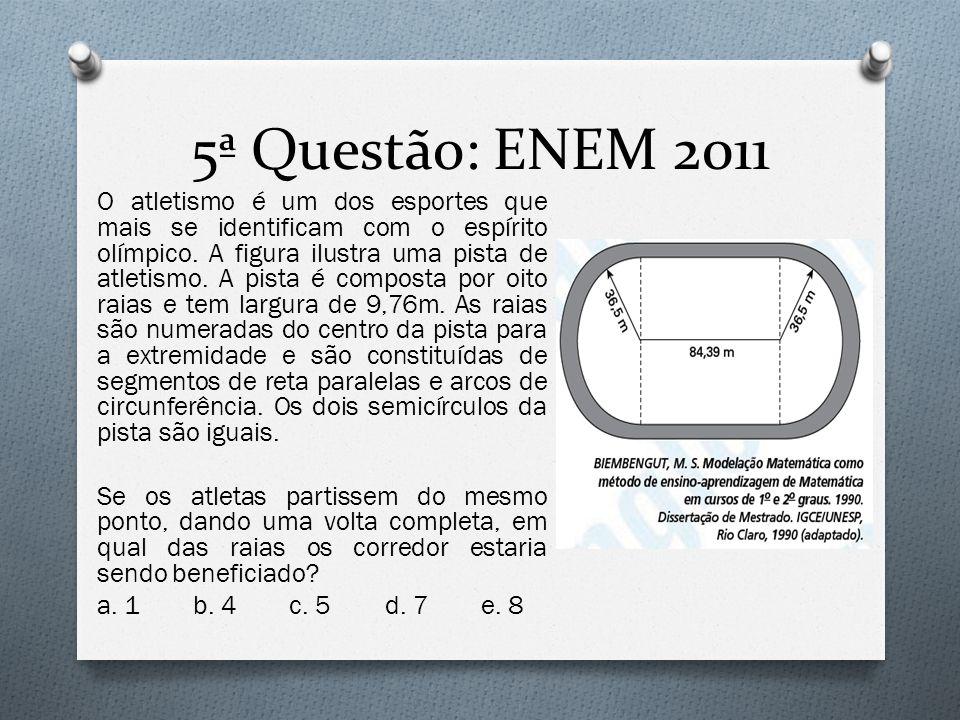 5ª Questão: ENEM 2011 O atletismo é um dos esportes que mais se identificam com o espírito olímpico. A figura ilustra uma pista de atletismo. A pista