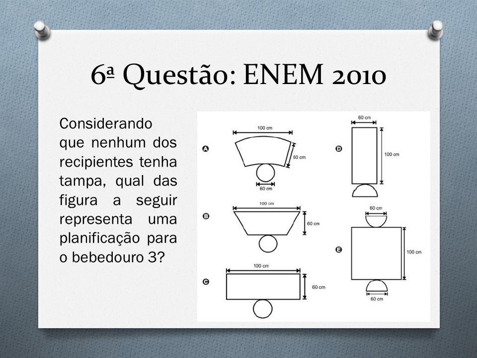 6ª Questão: ENEM 2010 Considerando que nenhum dos recipientes tenha tampa, qual das figura a seguir representa uma planificação para o bebedouro 3?