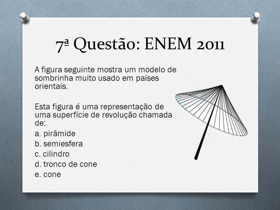 7ª Questão: ENEM 2011 A figura seguinte mostra um modelo de sombrinha muito usado em países orientais. Esta figura é uma representação de uma superfíc