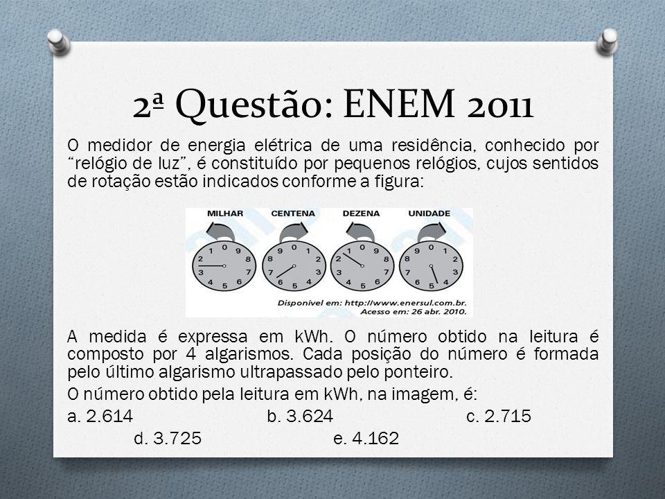 """2ª Questão: ENEM 2011 O medidor de energia elétrica de uma residência, conhecido por """"relógio de luz"""", é constituído por pequenos relógios, cujos sent"""