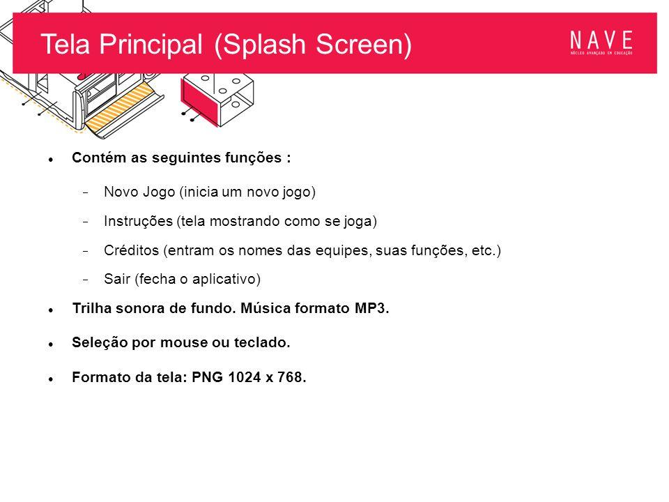 Tela Principal (Splash Screen) Contém as seguintes funções :  Novo Jogo (inicia um novo jogo)  Instruções (tela mostrando como se joga)  Créditos (
