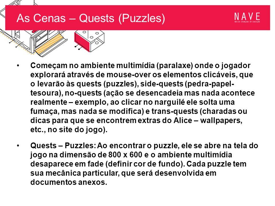 As Cenas – Quests (Puzzles) Começam no ambiente multimídia (paralaxe) onde o jogador explorará através de mouse-over os elementos clicáveis, que o lev