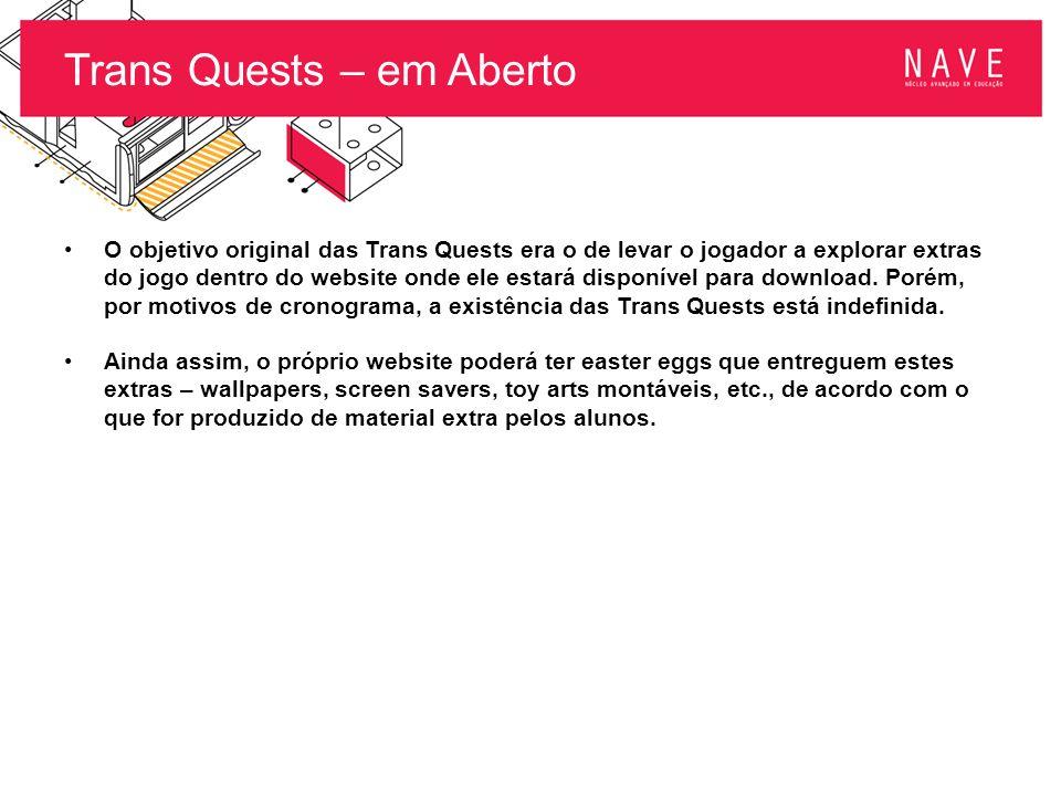 Trans Quests – em Aberto O objetivo original das Trans Quests era o de levar o jogador a explorar extras do jogo dentro do website onde ele estará dis