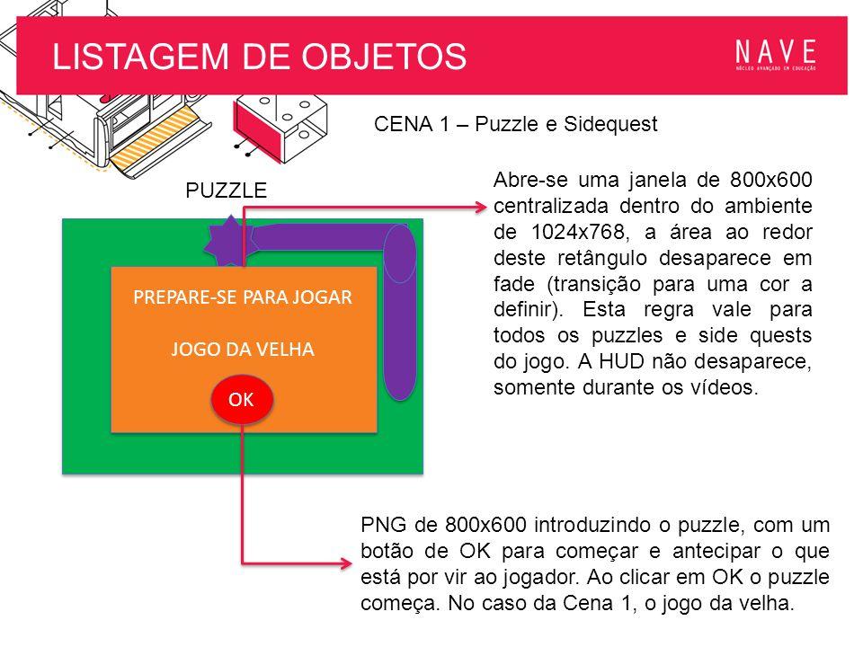 LISTAGEM DE OBJETOS CENA 1 – Puzzle e Sidequest PREPARE-SE PARA JOGAR JOGO DA VELHA OK PREPARE-SE PARA JOGAR JOGO DA VELHA OK PUZZLE Abre-se uma janel
