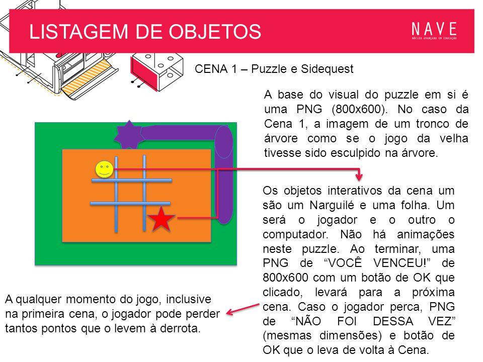 LISTAGEM DE OBJETOS CENA 1 – Puzzle e Sidequest A base do visual do puzzle em si é uma PNG (800x600). No caso da Cena 1, a imagem de um tronco de árvo