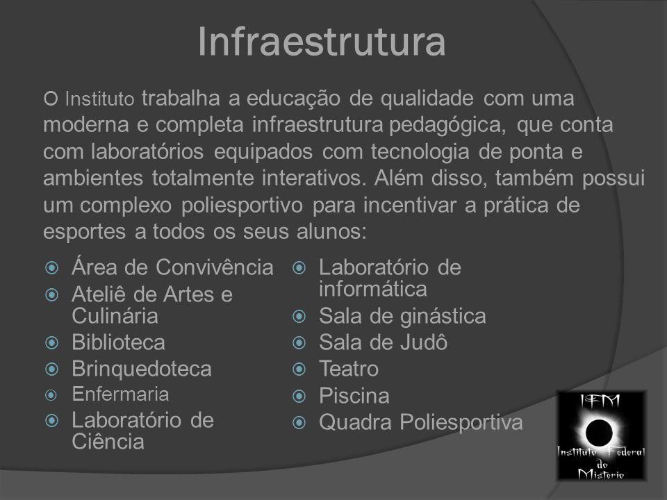 Infraestrutura O Instituto trabalha a educação de qualidade com uma moderna e completa infraestrutura pedagógica, que conta com laboratórios equipados com tecnologia de ponta e ambientes totalmente interativos.