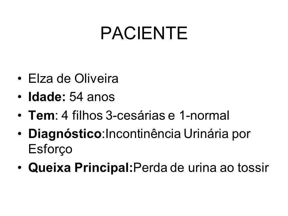 PACIENTE Elza de Oliveira Idade: 54 anos Tem: 4 filhos 3-cesárias e 1-normal Diagnóstico:Incontinência Urinária por Esforço Queixa Principal:Perda de