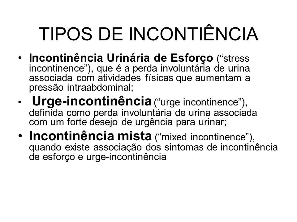 """TIPOS DE INCONTIÊNCIA Incontinência Urinária de Esforço (""""stress incontinence""""), que é a perda involuntária de urina associada com atividades físicas"""