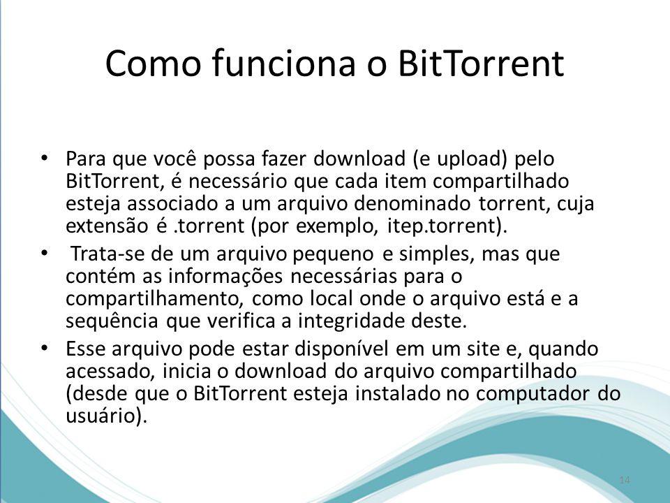 Como funciona o BitTorrent Para que você possa fazer download (e upload) pelo BitTorrent, é necessário que cada item compartilhado esteja associado a