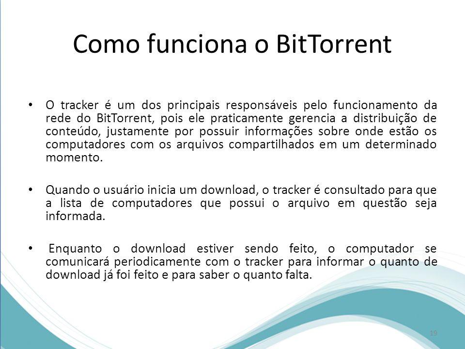 Como funciona o BitTorrent O tracker é um dos principais responsáveis pelo funcionamento da rede do BitTorrent, pois ele praticamente gerencia a distr