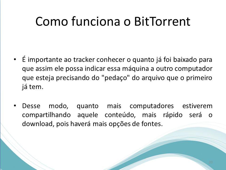 Como funciona o BitTorrent É importante ao tracker conhecer o quanto já foi baixado para que assim ele possa indicar essa máquina a outro computador q