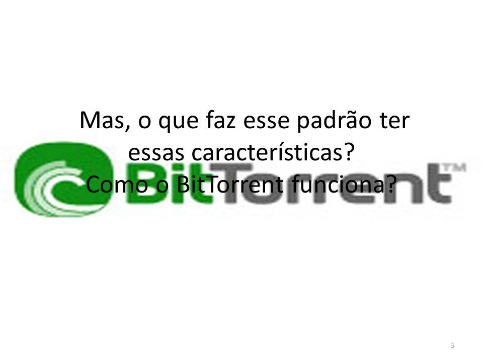 Como funciona o BitTorrent Para que você possa fazer download (e upload) pelo BitTorrent, é necessário que cada item compartilhado esteja associado a um arquivo denominado torrent, cuja extensão é.torrent (por exemplo, itep.torrent).