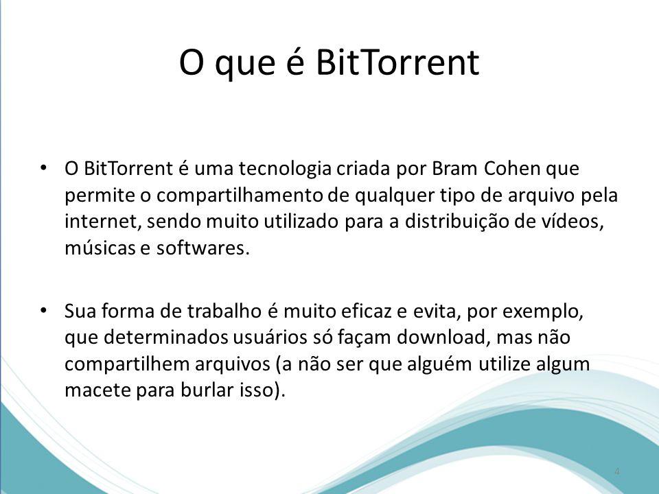 O que é BitTorrent O BitTorrent é uma tecnologia criada por Bram Cohen que permite o compartilhamento de qualquer tipo de arquivo pela internet, sendo