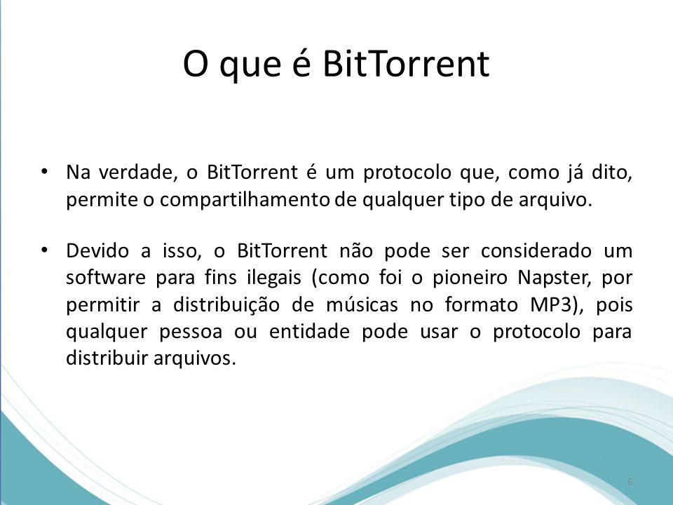 Como funciona o BitTorrent Leech (ou leeching): é a denominação dada ao momento em que um computador faz download; Tracker: denominação dada ao servidor que é responsável por organizar os arquivos disponíveis e direcionar os downloads; Swarm: nome dado ao conjunto de computadores que estão compartilhando o mesmo arquivo.