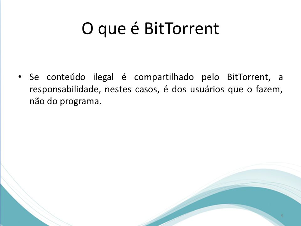 Como funciona o BitTorrent O tracker é um dos principais responsáveis pelo funcionamento da rede do BitTorrent, pois ele praticamente gerencia a distribuição de conteúdo, justamente por possuir informações sobre onde estão os computadores com os arquivos compartilhados em um determinado momento.