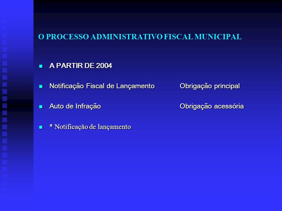 O PROCESSO ADMINISTRATIVO FISCAL MUNICIPAL A PARTIR DE 2004 A PARTIR DE 2004 Notificação Fiscal de Lançamento Obrigação principal Notificação Fiscal d