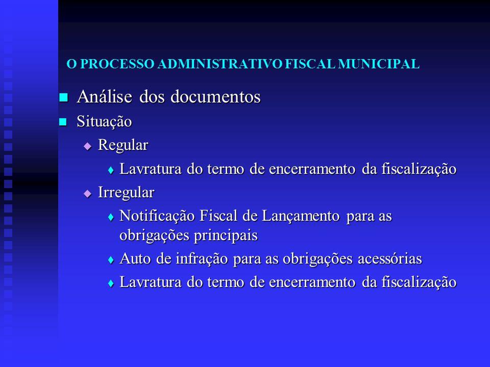 O PROCESSO ADMINISTRATIVO FISCAL MUNICIPAL Análise dos documentos Análise dos documentos Situação Situação  Regular  Lavratura do termo de encerrame