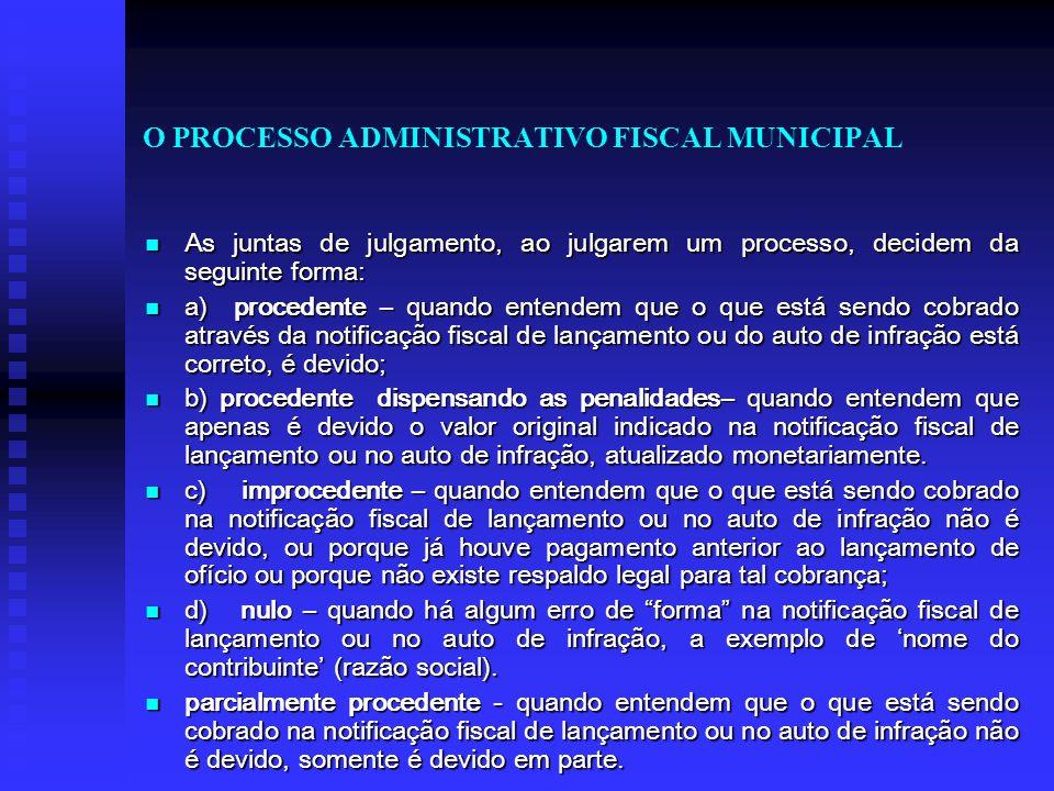 O PROCESSO ADMINISTRATIVO FISCAL MUNICIPAL As juntas de julgamento, ao julgarem um processo, decidem da seguinte forma: As juntas de julgamento, ao ju