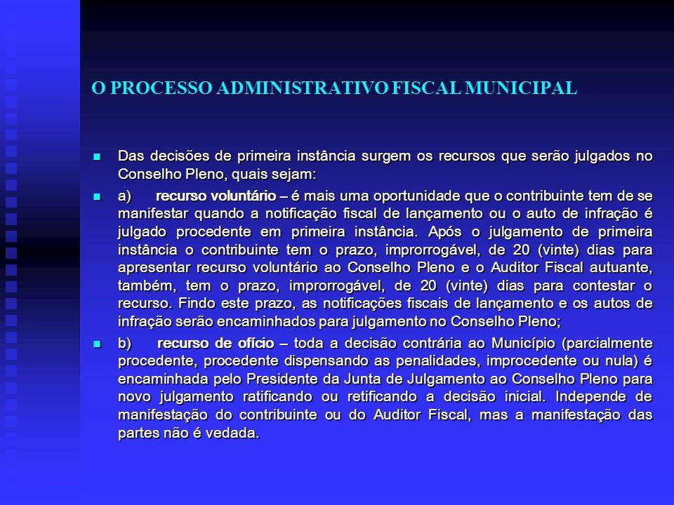 O PROCESSO ADMINISTRATIVO FISCAL MUNICIPAL Das decisões de primeira instância surgem os recursos que serão julgados no Conselho Pleno, quais sejam: Da