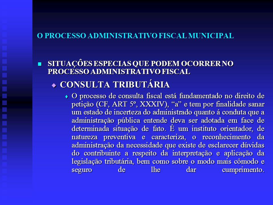 O PROCESSO ADMINISTRATIVO FISCAL MUNICIPAL SITUAÇÔES ESPECIAS QUE PODEM OCORRER NO PROCESSO ADMINISTRATIVO FISCAL SITUAÇÔES ESPECIAS QUE PODEM OCORRER