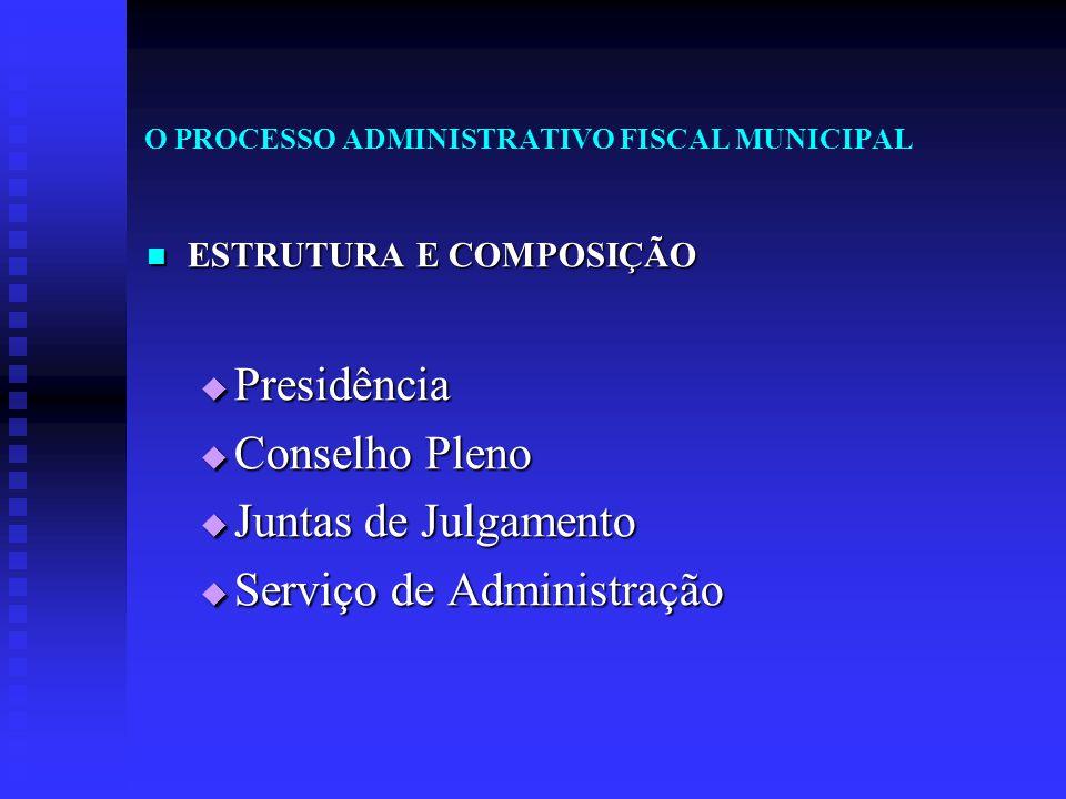 O PROCESSO ADMINISTRATIVO FISCAL MUNICIPAL ESTRUTURA E COMPOSIÇÃO ESTRUTURA E COMPOSIÇÃO  Presidência  Conselho Pleno  Juntas de Julgamento  Servi