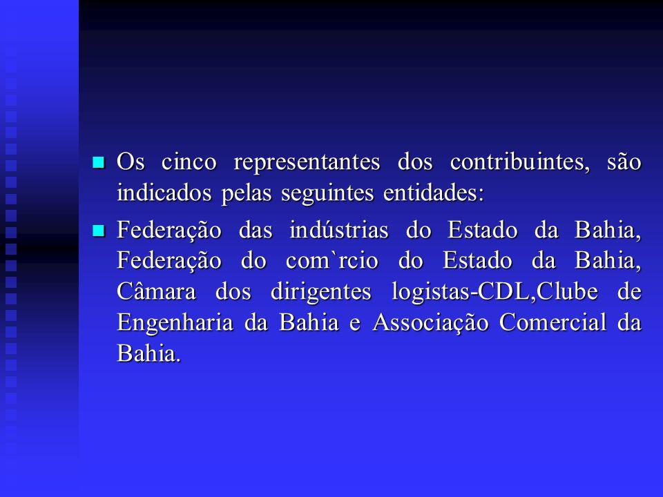 Os cinco representantes dos contribuintes, são indicados pelas seguintes entidades: Os cinco representantes dos contribuintes, são indicados pelas seg