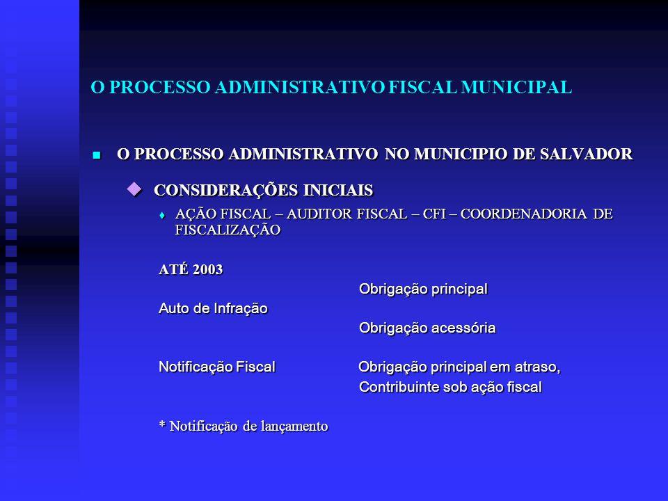 O PROCESSO ADMINISTRATIVO FISCAL MUNICIPAL O PROCESSO ADMINISTRATIVO NO MUNICIPIO DE SALVADOR O PROCESSO ADMINISTRATIVO NO MUNICIPIO DE SALVADOR  CON