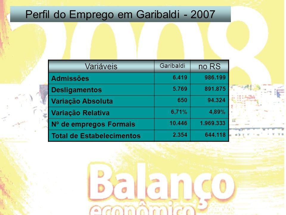 Variáveis Garibaldi no RS Admissões 6.419986.199 Desligamentos 5.769891.875 Variação Absoluta 65094.324 Variação Relativa 6,71%4,89% Nº de empregos Formais 10.4461.969.333 Total de Estabelecimentos 2.354644.118 Perfil do Emprego em Garibaldi - 2007