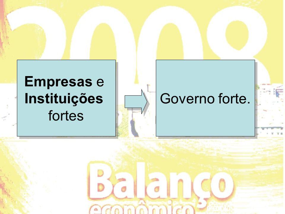 Empresas e Instituições fortes Governo forte.