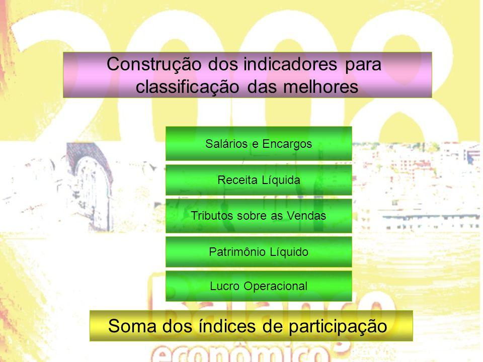 Construção dos indicadores para classificação das melhores Salários e Encargos Receita Líquida Tributos sobre as Vendas Patrimônio Líquido Lucro Operacional Soma dos índices de participação