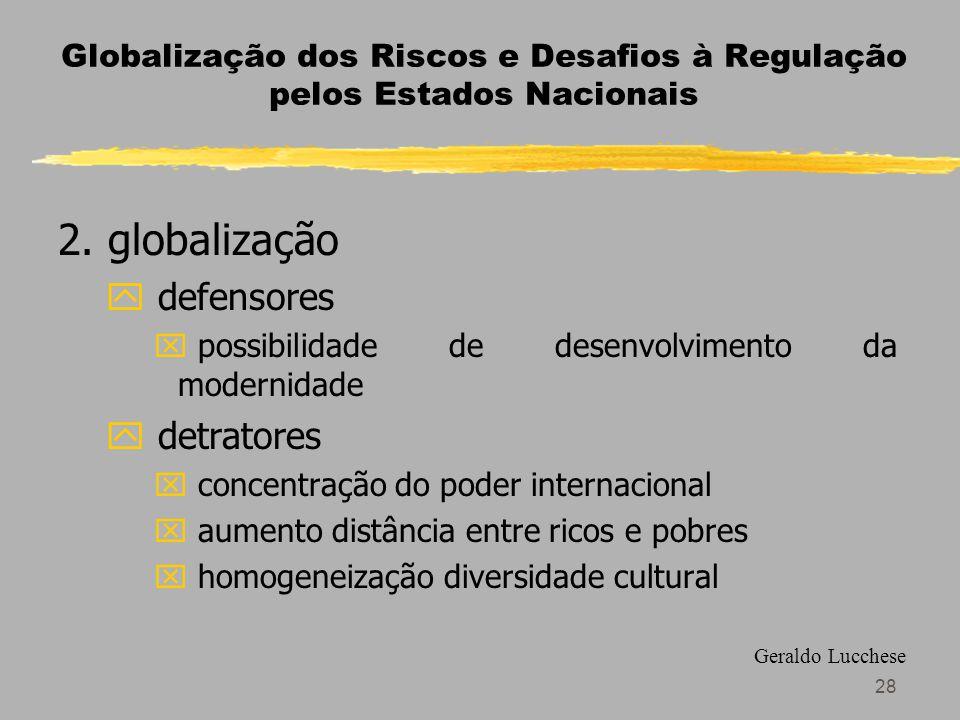 28 Globalização dos Riscos e Desafios à Regulação pelos Estados Nacionais 2.
