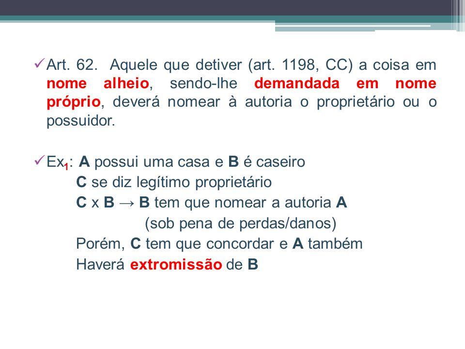 Art. 62. Aquele que detiver (art. 1198, CC) a coisa em nome alheio, sendo-lhe demandada em nome próprio, deverá nomear à autoria o proprietário ou o p