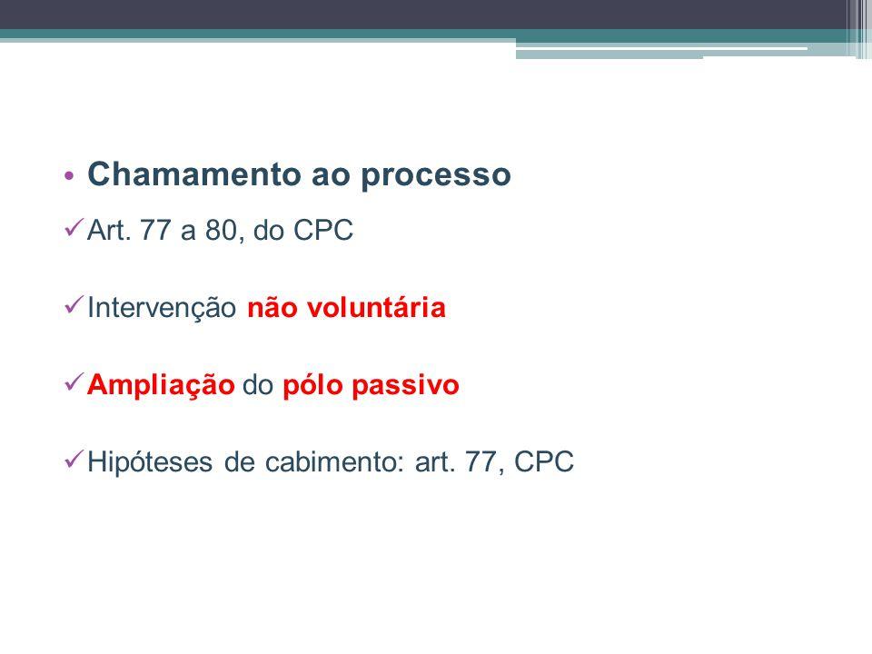Chamamento ao processo Art. 77 a 80, do CPC Intervenção não voluntária Ampliação do pólo passivo Hipóteses de cabimento: art. 77, CPC