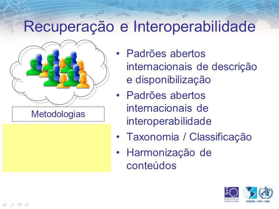 Recuperação e Interoperabilidade Padrões abertos internacionais de descrição e disponibilização Padrões abertos internacionais de interoperabilidade Taxonomia / Classificação Harmonização de conteúdos Metodologias Aplicações