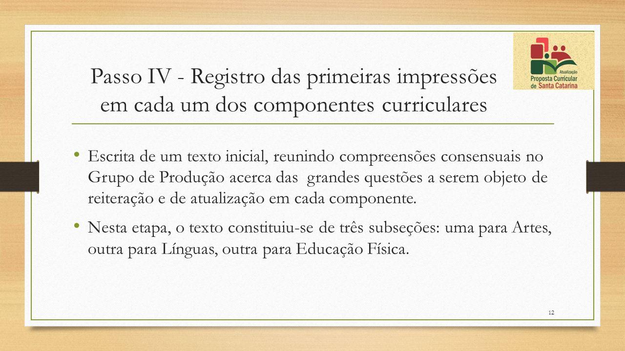 Passo IV - Registro das primeiras impressões em cada um dos componentes curriculares Escrita de um texto inicial, reunindo compreensões consensuais no