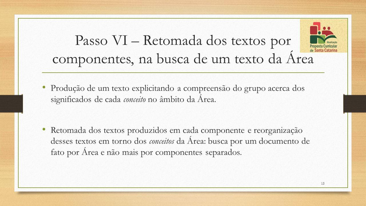 Passo VI – Retomada dos textos por componentes, na busca de um texto da Área Produção de um texto explicitando a compreensão do grupo acerca dos signi