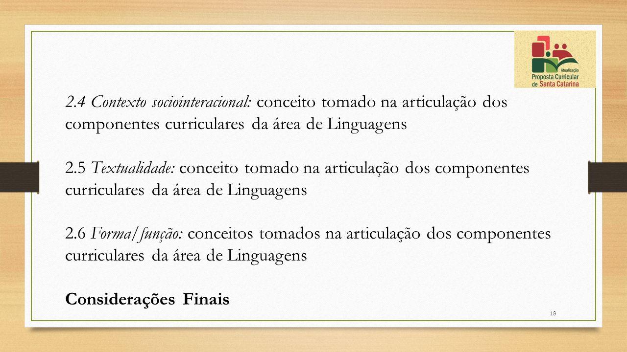 2.4 Contexto sociointeracional: conceito tomado na articulação dos componentes curriculares da área de Linguagens 2.5 Textualidade: conceito tomado na