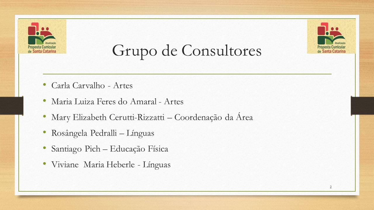 Grupo de Consultores Carla Carvalho - Artes Maria Luiza Feres do Amaral - Artes Mary Elizabeth Cerutti-Rizzatti – Coordenação da Área Rosângela Pedral