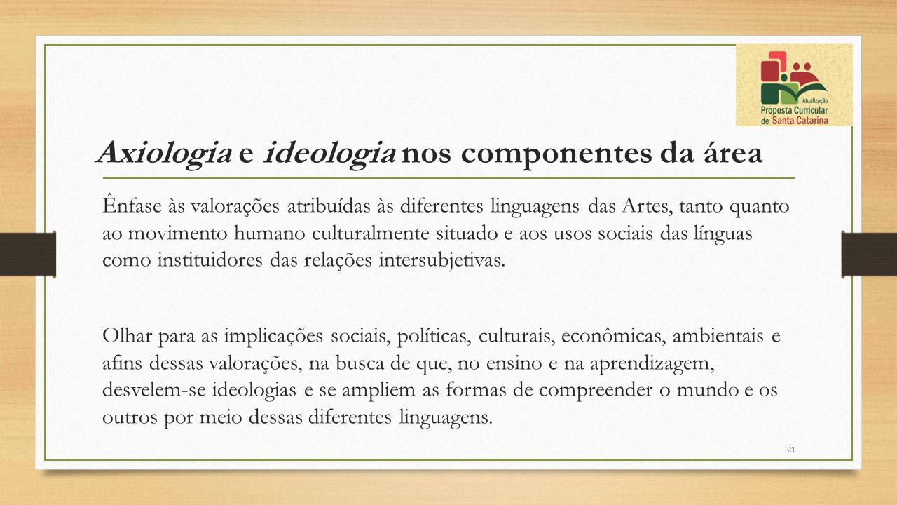 Axiologia e ideologia nos componentes da área Ênfase às valorações atribuídas às diferentes linguagens das Artes, tanto quanto ao movimento humano cul