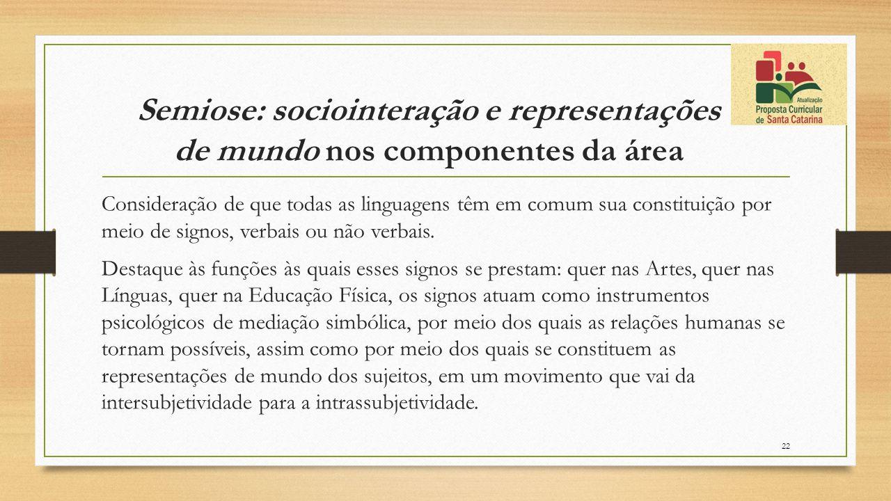 Semiose: sociointeração e representações de mundo nos componentes da área Consideração de que todas as linguagens têm em comum sua constituição por me