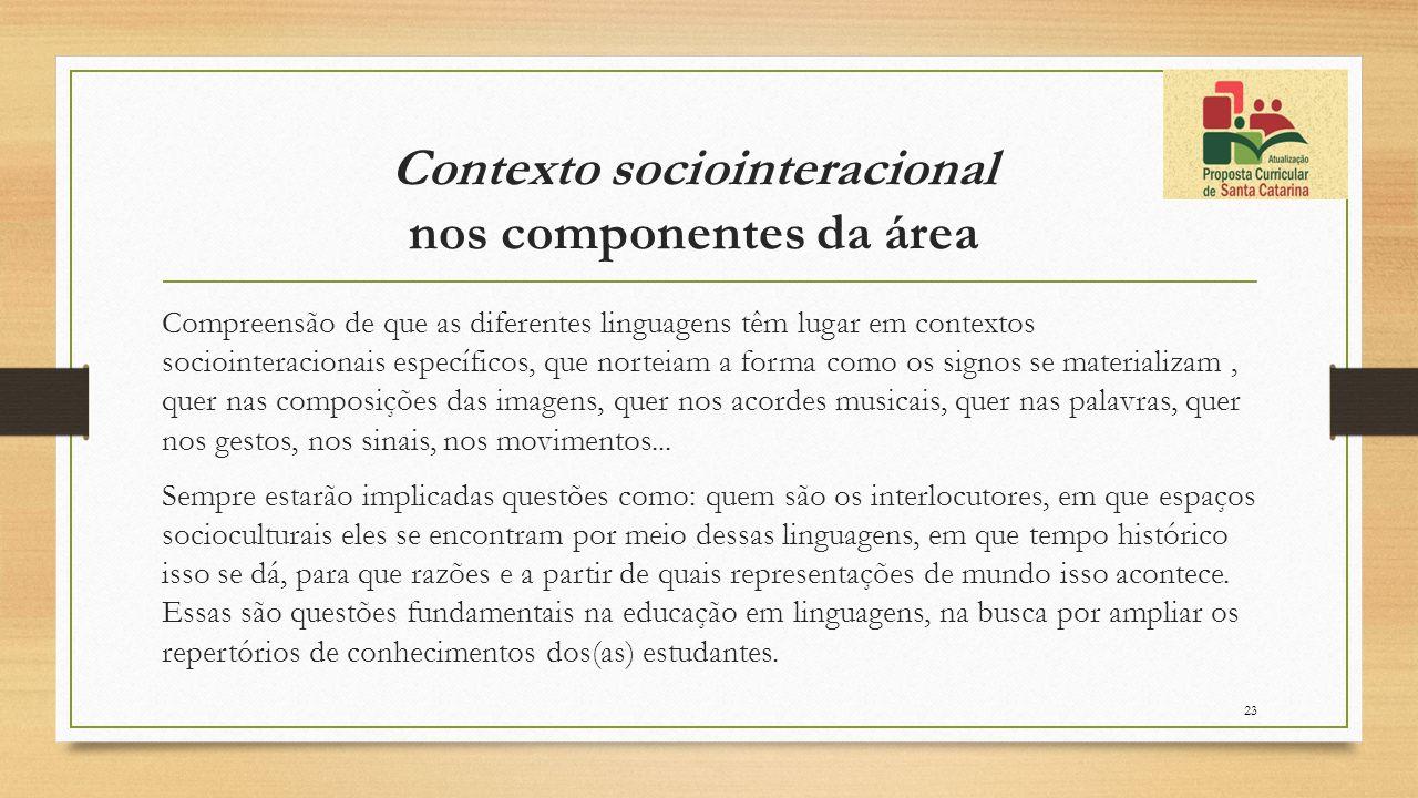 Contexto sociointeracional nos componentes da área Compreensão de que as diferentes linguagens têm lugar em contextos sociointeracionais específicos,