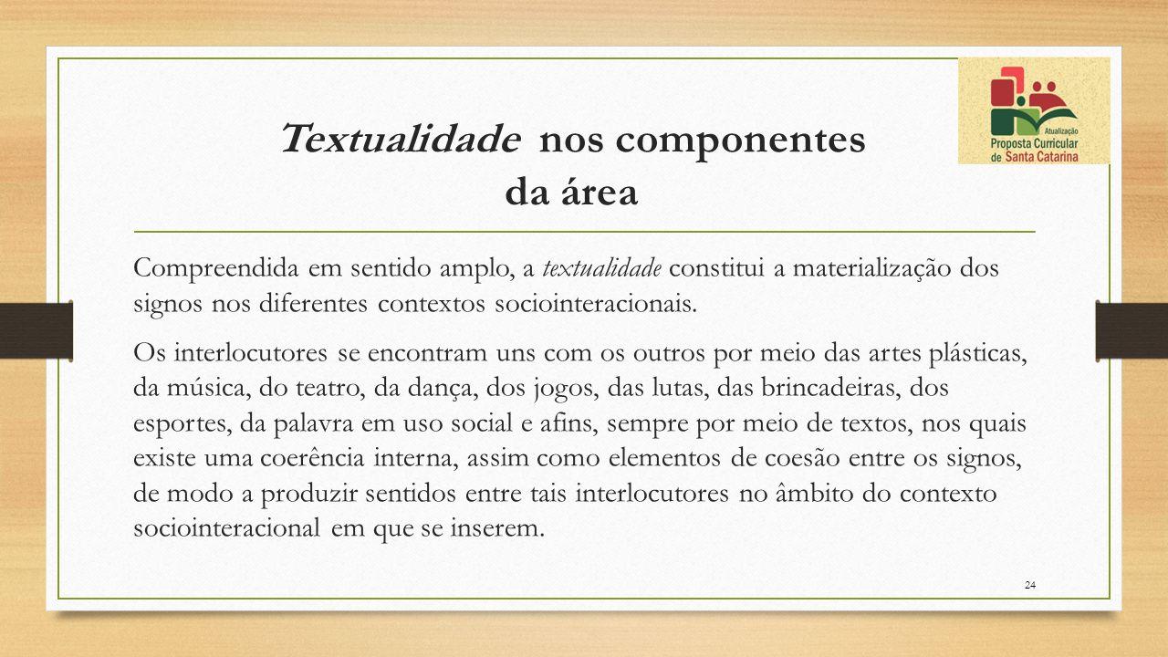 Textualidade nos componentes da área Compreendida em sentido amplo, a textualidade constitui a materialização dos signos nos diferentes contextos soci